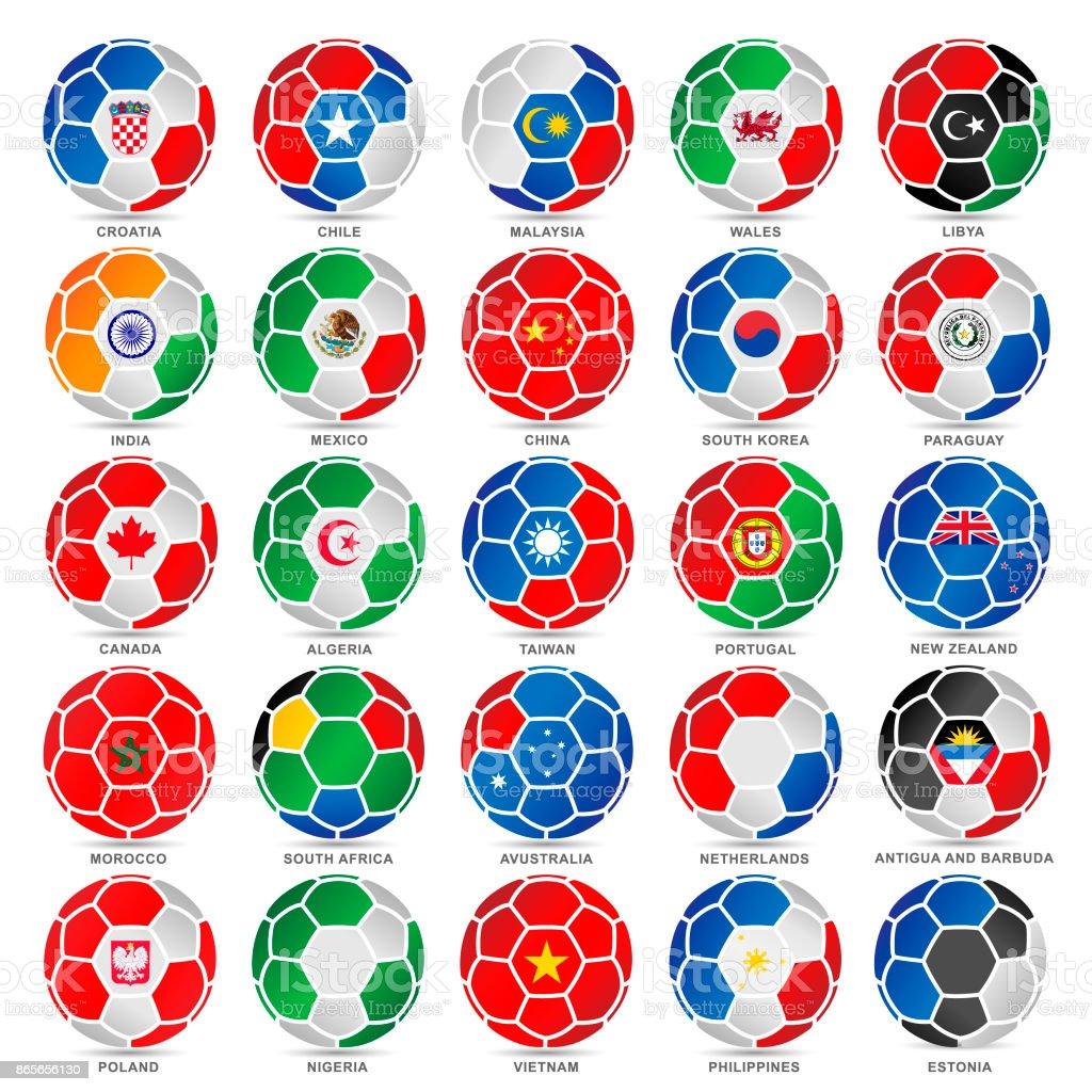 25 banderas del mundo en balones de fútbol - ilustración de arte vectorial
