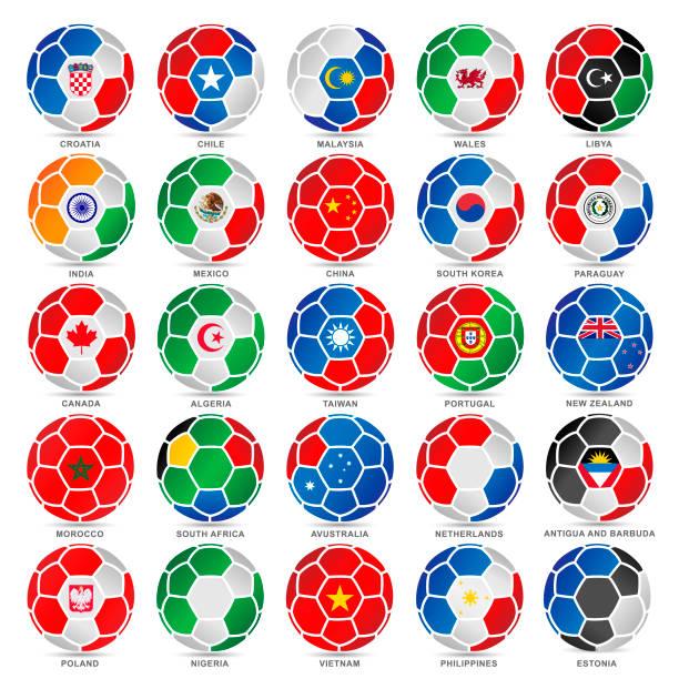 25 flaggen der welt auf fußbälle - flagge polen stock-grafiken, -clipart, -cartoons und -symbole