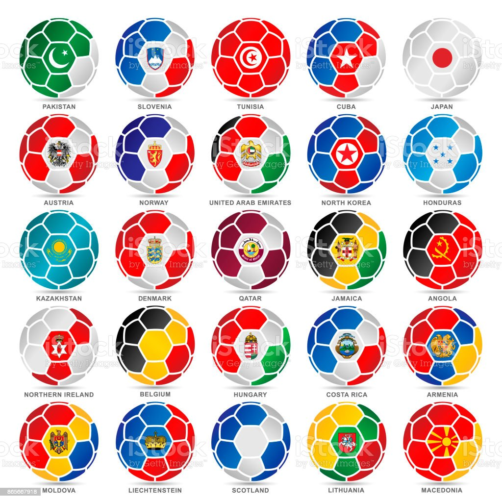 25 Flags of world on soccer balls vector art illustration
