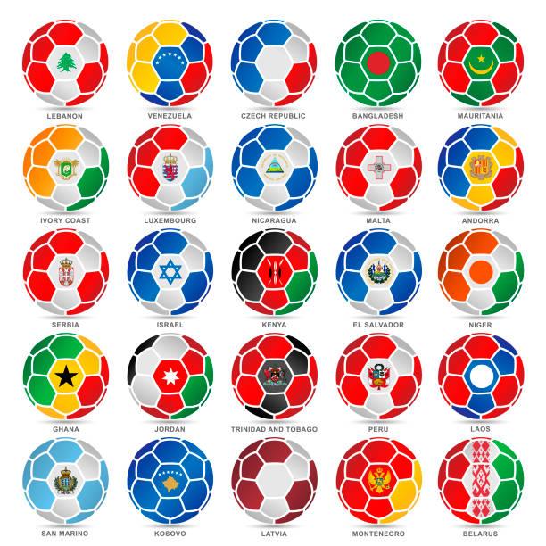 25 Flaggen der Welt auf Fußbälle – Vektorgrafik