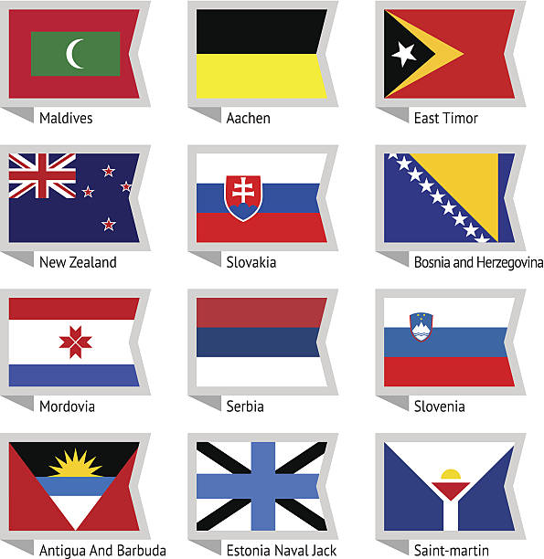 Flags of world-12 Flags of world, flat vector illustration. Set number 12 lachen stock illustrations
