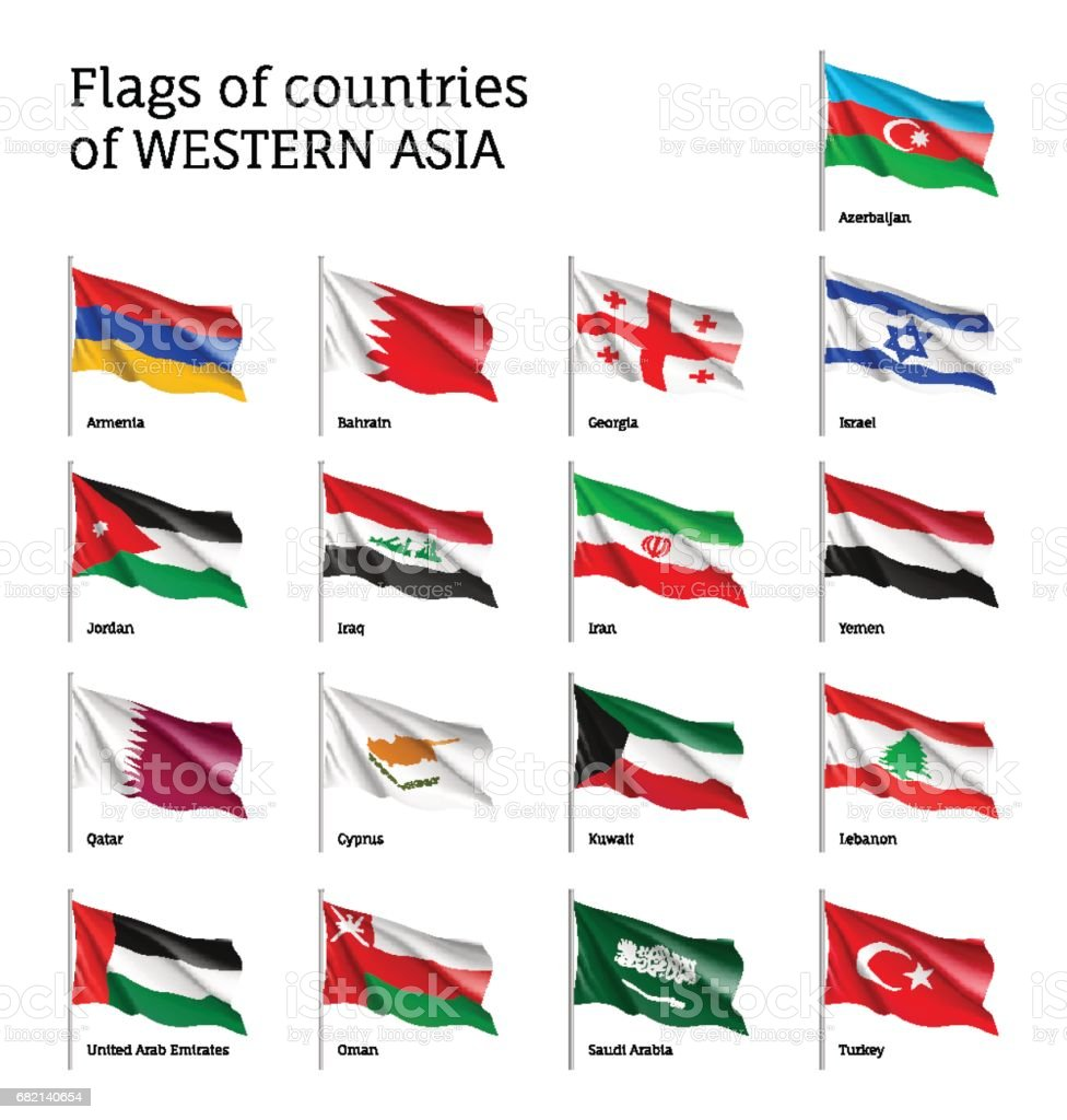 Flags on flagpole Western Asian - Grafika wektorowa royalty-free (Arabia)