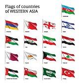 Flags on flagpole Western Asian
