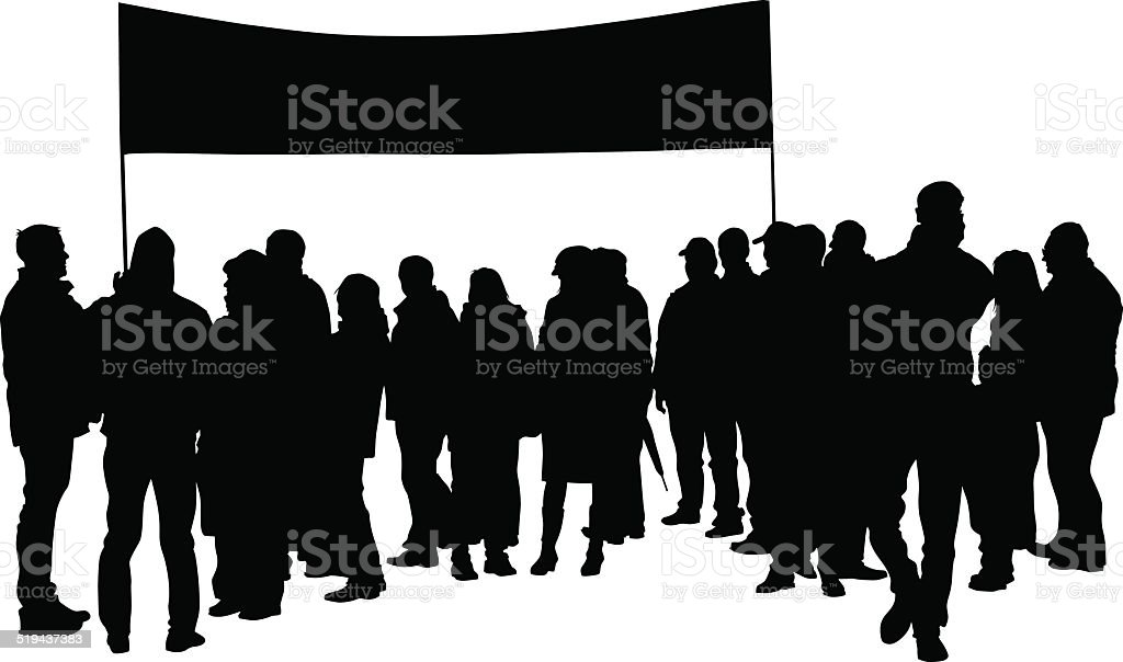 Flags people vector art illustration