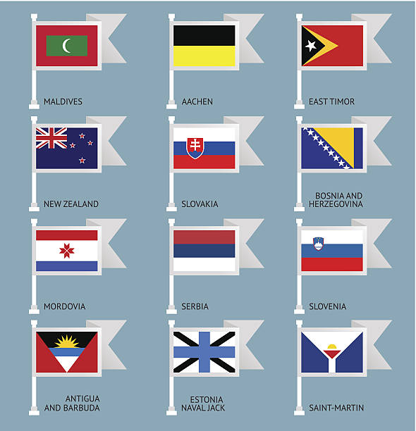 Flags set four-12 Flags of the world, flat vector illustration. Set number 12 lachen stock illustrations