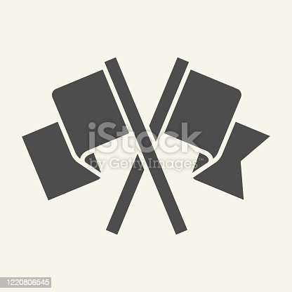 istock Flags solid icon. Two waving crossed flag glyph style pictogram on beige background. Silhouette of two pennants for mobile concept and web design. Vector graphics. 1220806545