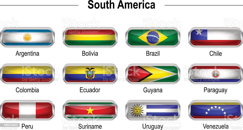 Flags - South America vector art illustration