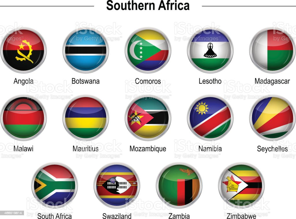Flaggen-Südliches Afrika – Vektorgrafik