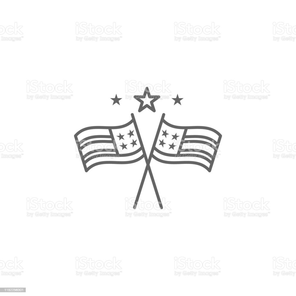 Flags Stars Usa Outline Icon Signs And Symbols Can Be Used For Web