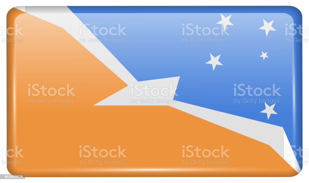 Flags Tierra del Fuego Province in the form of a magnet on refrigerator with reflections light. Vector