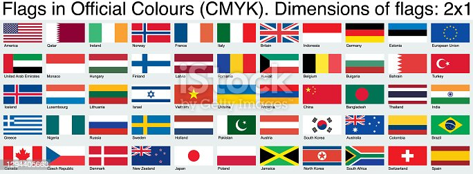 istock Flags, Using the Official CMYK Colors, Ratio 2x1 1294405663
