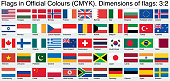 Flags, using the official CMYK colors, ratio 3:2.