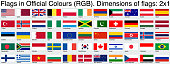 Flags. All of these use the officially accepted RGB colors. Ratio 2x1.