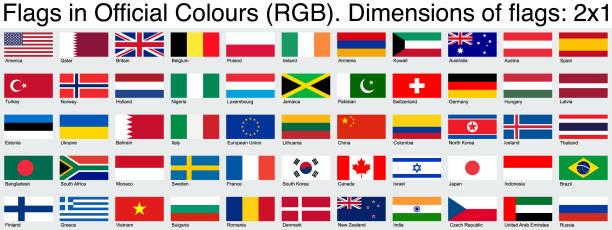 stockillustraties, clipart, cartoons en iconen met vlaggen, met behulp van de officiële rgb-kleuren, ratio 2x1 - indonesische vlag