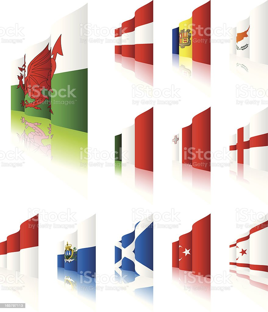 3D Flags royalty-free stock vector art