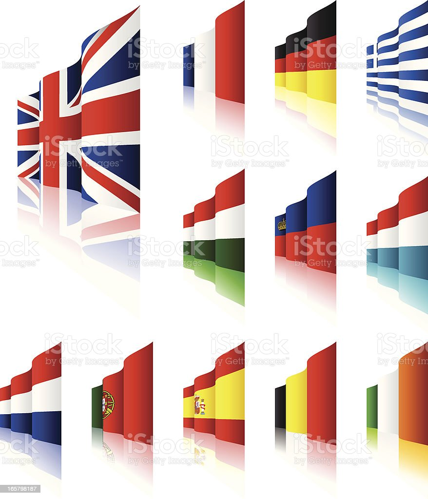 3D Flags vector art illustration