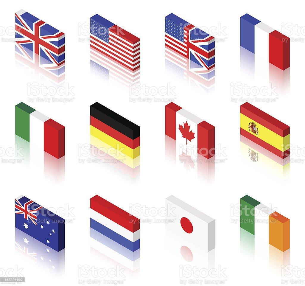 3 D Flaggen – Vektorgrafik