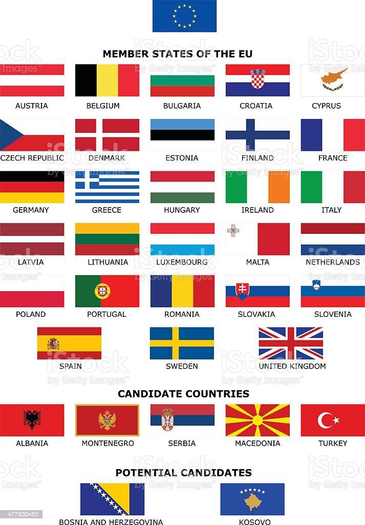 EU Flags vector art illustration