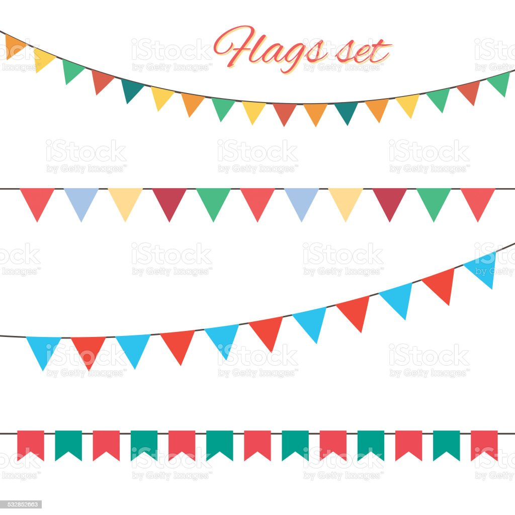 Flags vector set for your birthday design. vector art illustration