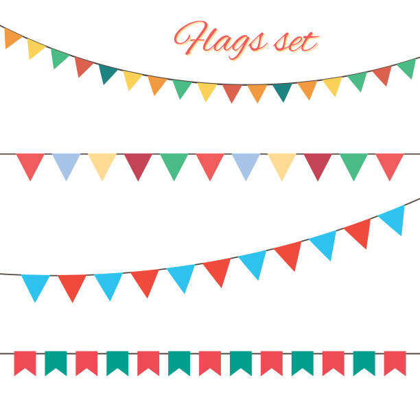 векторный набор флагов для вашего дня рождения дизайн. - holiday background stock illustrations