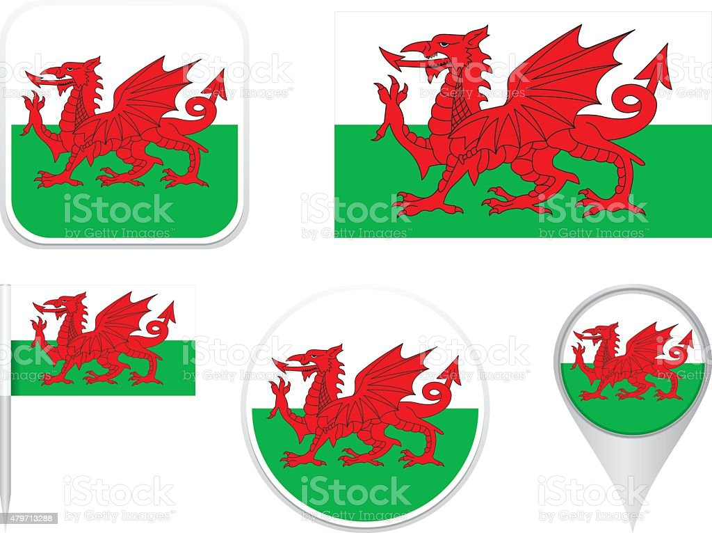 Flags Wales vector art illustration
