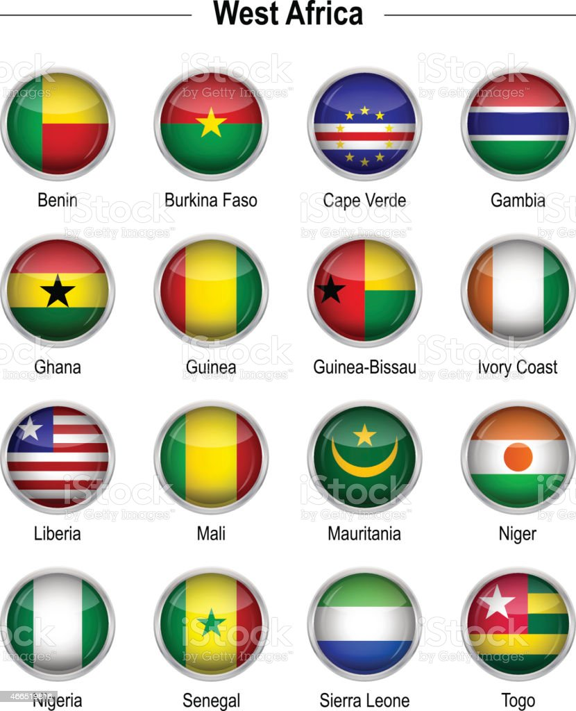 Flags - West Africa vector art illustration