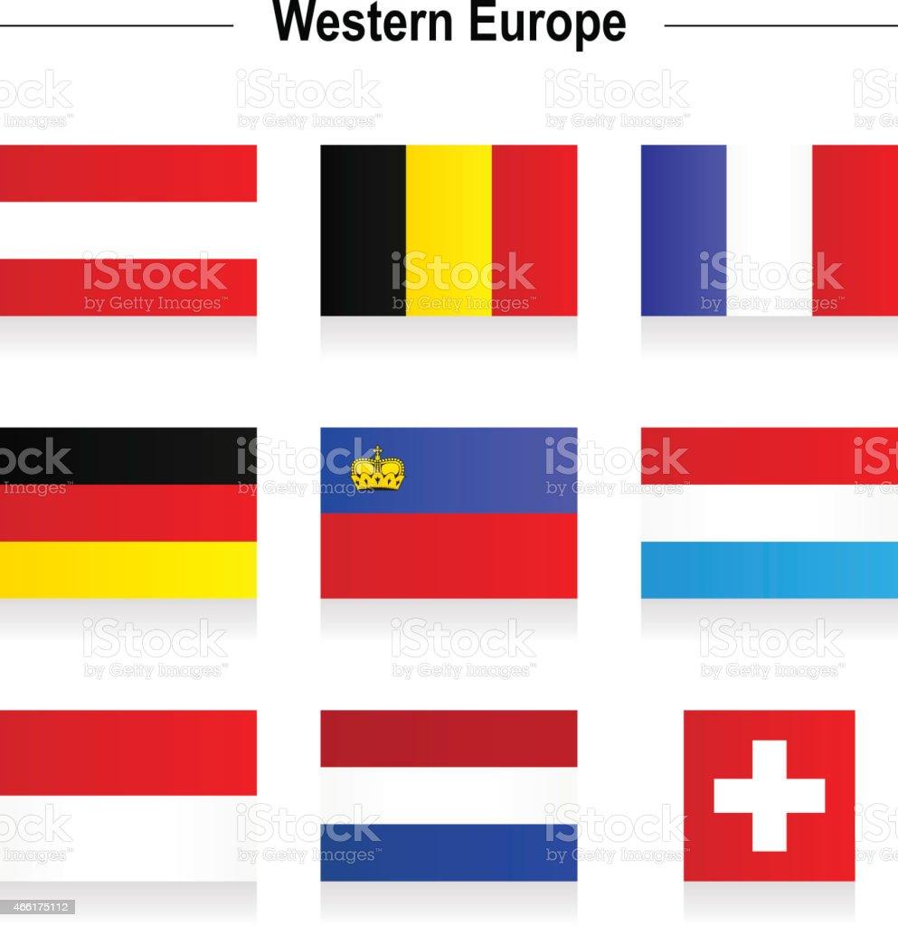 Flags - Western Europe vector art illustration