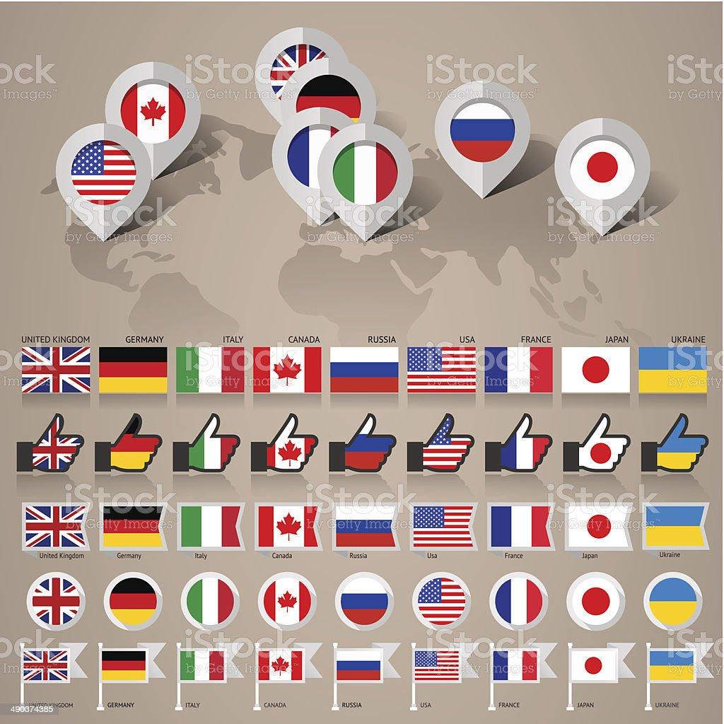 G8 flags with map big set vector art illustration