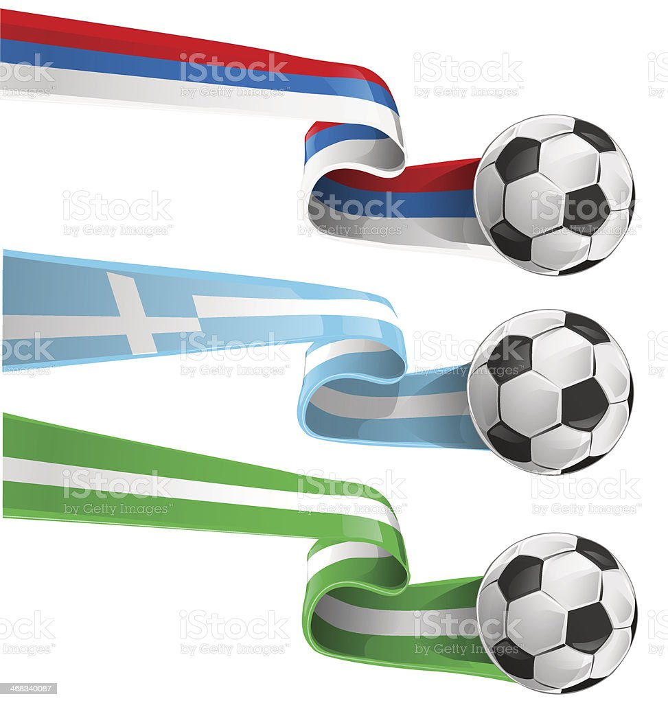 flags with soccer ball vector art illustration