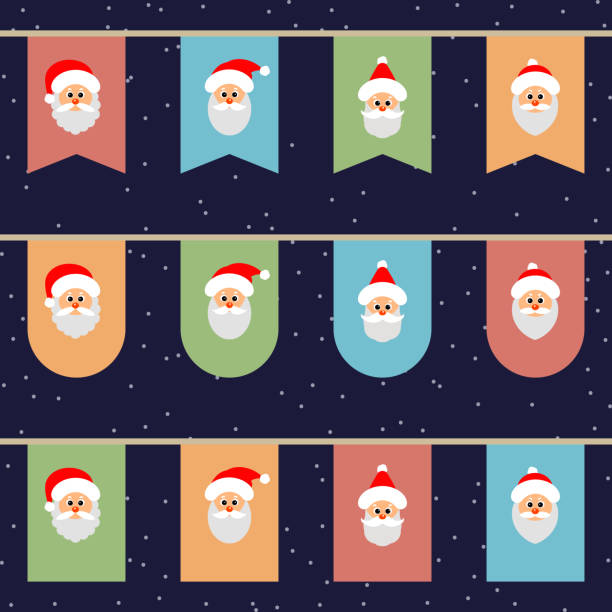 ilustrações de stock, clip art, desenhos animados e ícones de flags with the face of santa on a rope. christmas funny background. - tape face