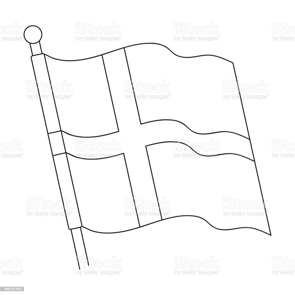 Vlag, één pictogram in kaderstijl. Vlag, vector symbool stock illustratie web. - Royalty-free Beschrijvende kleur vectorkunst