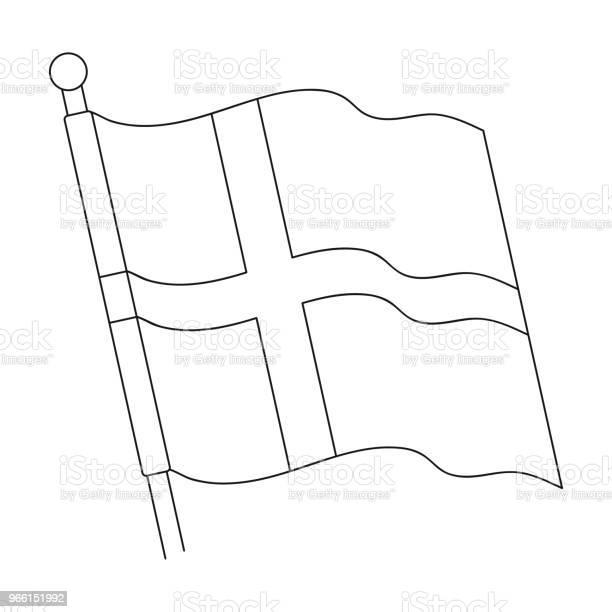 Flagga Enda Ikon I Dispositionsformat Flagga Vektor Symbol Stock Illustration Web-vektorgrafik och fler bilder på Beskrivande färg