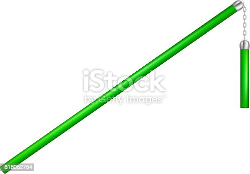 Flail in green design with chain on white background