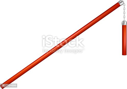 Flail in red design with chain on white background