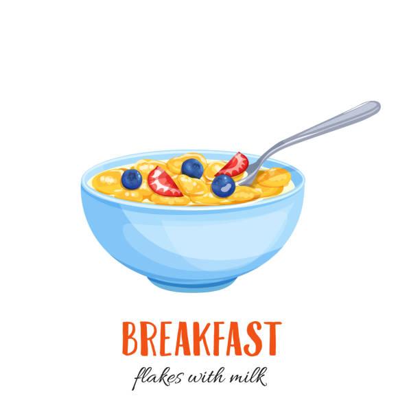 illustrazioni stock, clip art, cartoni animati e icone di tendenza di flakes with milk and berries. - corn flakes