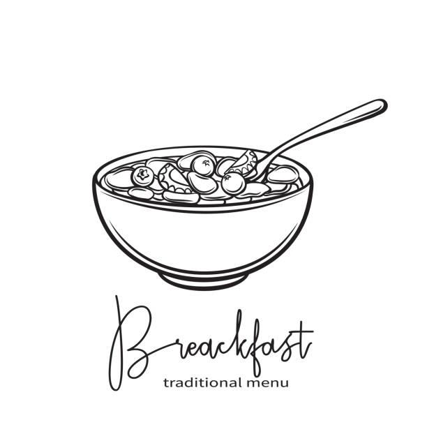 ilustrações de stock, clip art, desenhos animados e ícones de flakes with milk and berries - tigela