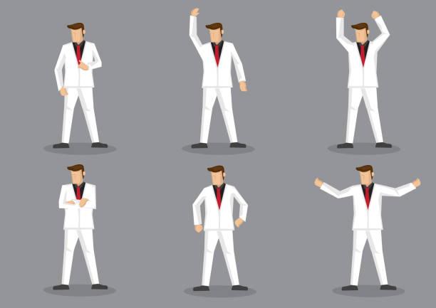 stockillustraties, clipart, cartoons en iconen met flamboyante man in een wit pak vector cartoon character set - men blazer