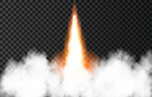 istock Flame and smoke from space rocket launch. 1256564596
