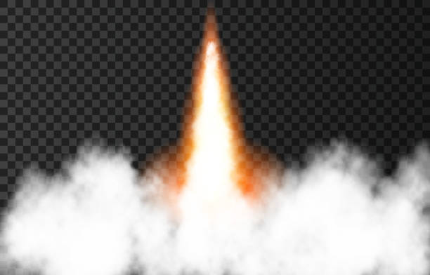 Flame and smoke from space rocket launch. Flame and smoke from space rocket launch. Fire, comet or meteor on transparent background.  Spaceship take off. Plane jets track or ship trail. Vector light effect. smoke physical structure stock illustrations