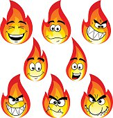 flame cartoons with many faces isolated on white background