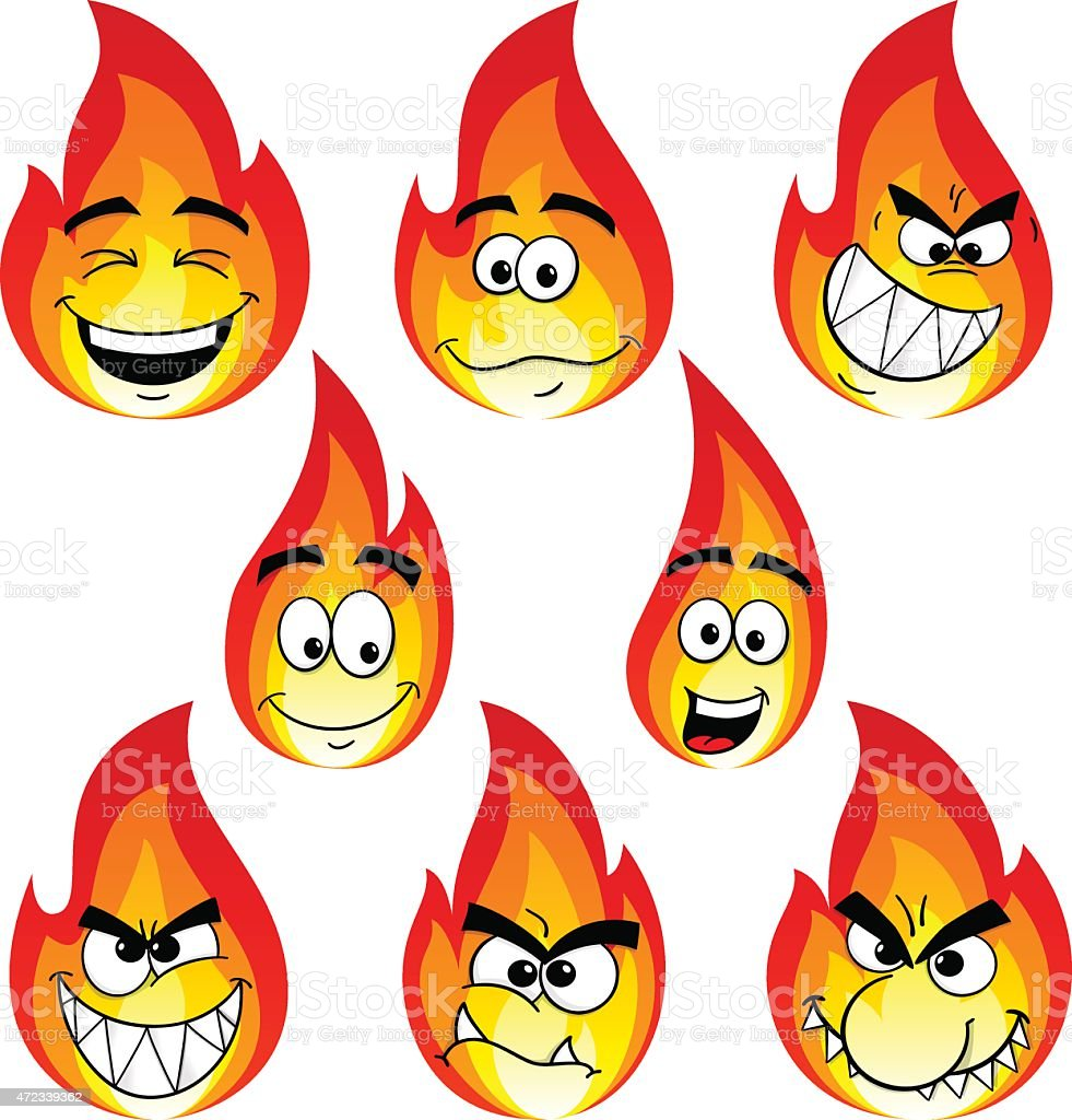 flame cartoons with many faces isolated on white background vector art illustration
