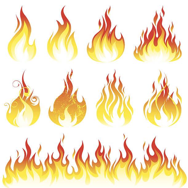 flamme-kollektion - feuer stock-grafiken, -clipart, -cartoons und -symbole