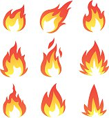 Flame collection vector art and illustration.