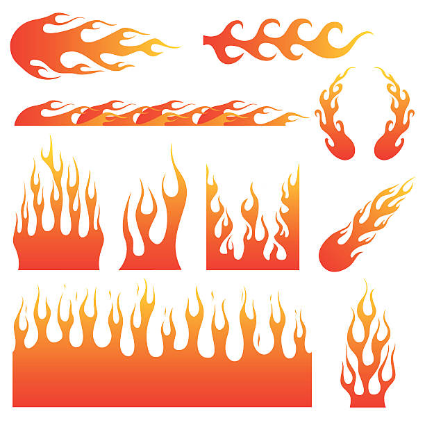 flame decals - fire tattoos stock illustrations, clip art, cartoons, & icons