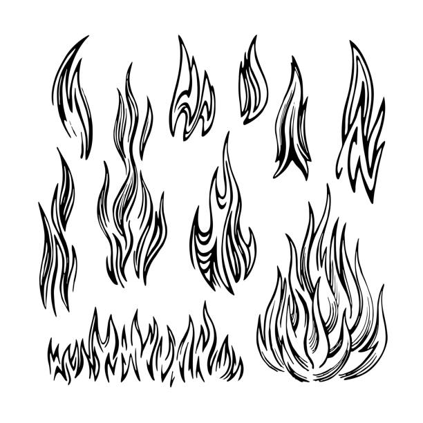 flame fire set sketch - fire tattoos stock illustrations, clip art, cartoons, & icons