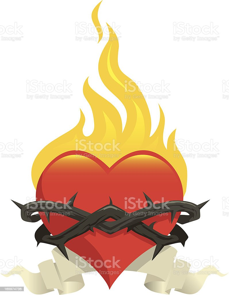 Flame heart royalty-free stock vector art