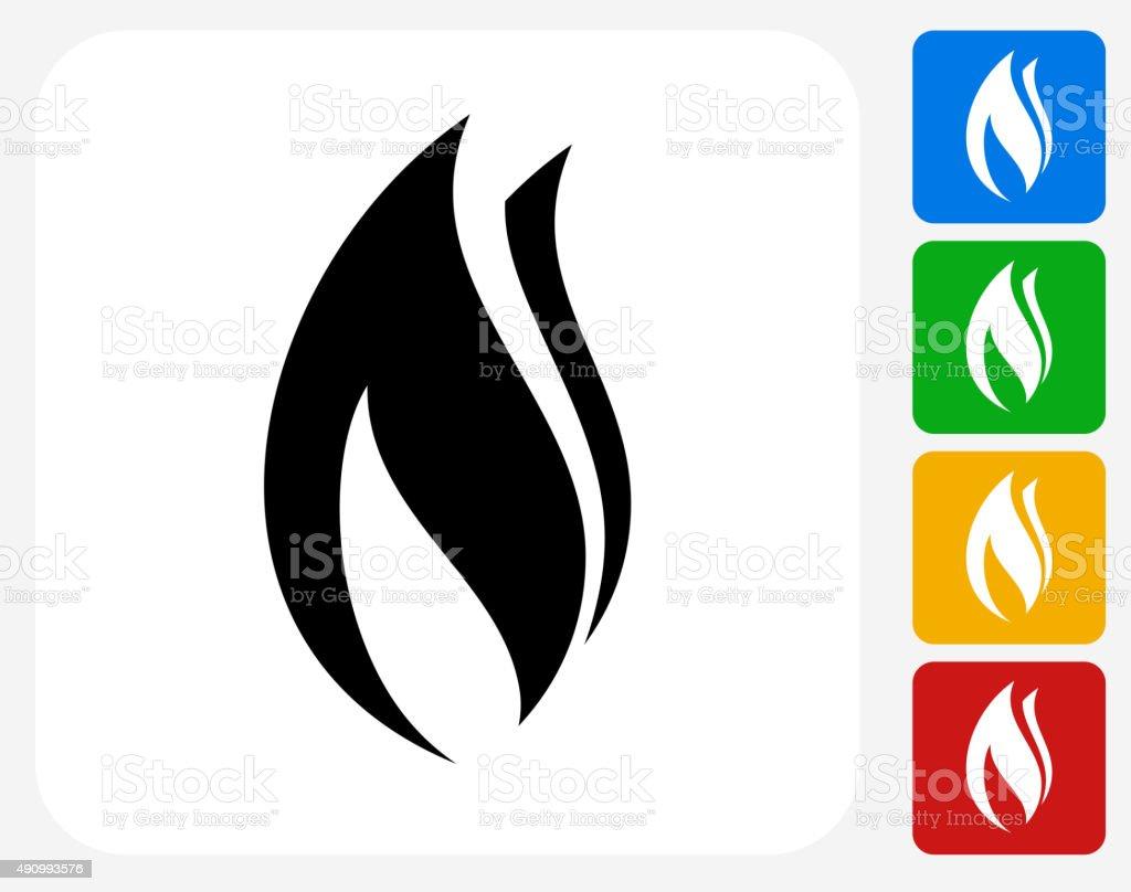 Flame Icon Flat Graphic Design vector art illustration
