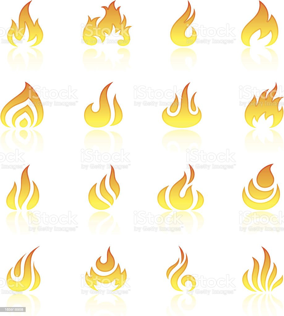 Flame icon set royalty-free stock vector art