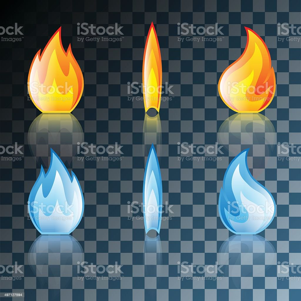 Flame Icon Set vector art illustration