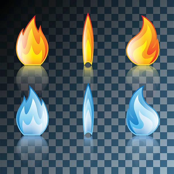 Flame Icon Set vector art illustration